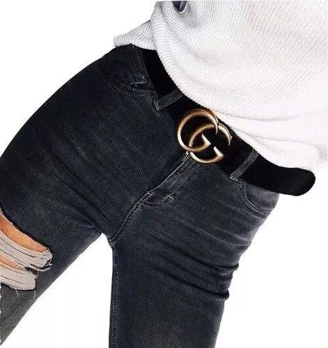 Cinto Gucci Em Couro Fivela Dourado Brilhante